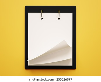 Blank White Calendar isolated on yellow background