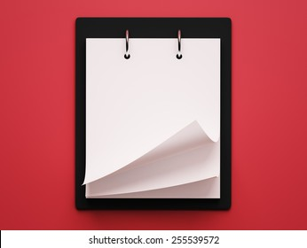 Blank White Calendar isolated on red background