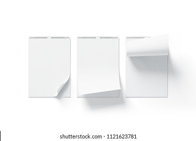Blank white calendar mock up front view, curved corners set, isolated, 3d rendering. Empty almanac a3 mockup with metal spirals. Clear wall mounted menology template. Portrait vertical calender