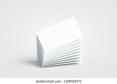 Blank white calling business cards stack mockup, no gravity, 3d rendering. Empty bussiness papers mock up. Clear namecard pile template. Visiting papersheet for for company name, phone number, email a