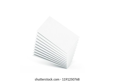 Blank white calling business cards heap mockup, 3d rendering. Empty namecard stack mock up. Clear contact papers pile template. Visiting papersheet for company name, phone number, email address.