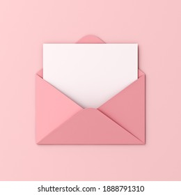 Blank white card in pink envelope isolated on pink pastel color background with shadow love letter minimal conceptual 3D rendering