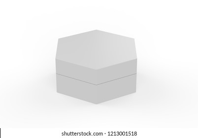 Blank White Cardboard Hexagon Packaging Box, Mock Up Template On Isolated White Background, 3D Illustration