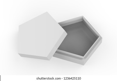 Blank White Cardboard Pentagon Packaging Box, Mock Up Template On Isolated White Background, 3D Illustration