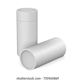 Blank White Cardboard Product Package, Round Container Box For Mock Up And Template Design. 3D Illustration
