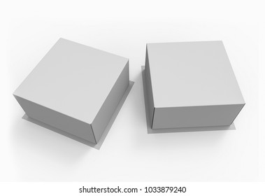 Blank White Carton Boxes For Cake Or Pie. Top View 3D Illustration