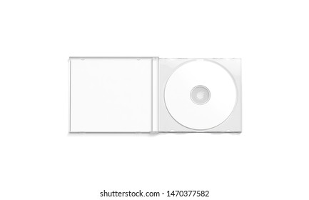 Blank white cd case mockup opened, top view, isolated, 3d rendering. Empty software storage mock up. Clear packing for blu-ray disc with data template.