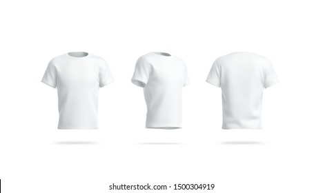 Blank white clean tshirt mockup, front, side and back view, 3d rendering. Empty footbal wear mock up, isolated. Clear cotton tee mokc. Classic sport model mokcup for logo print template.