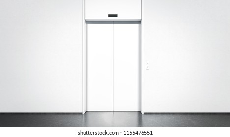 Blank white closed elevator in office floor interior mock up, front view, 3d rendering. Empty lift with buttons near concrete wall mockup. Concept of business center or hotel lifting template
