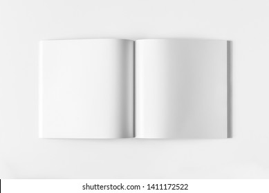 Blank white closed magazine mockup, isolated, side view, 3d rendering. White journal softcover mock up lies. Catalog brochure template. Empty notebook booklet design. Clear brandbook presentation.