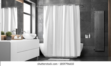Blank white closed shower curtain mock up, front view, 3d rendering. Empty toilet apartment with bath curtain mockup. Screen blind slip  in indoor furniture template.