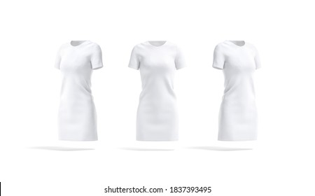 Blank white cloth dress mockup, front and side view, 3d rendering. Empty female cotton long tee-shirt or frock mock up, isolated. Clear fashion elegant clothing for catalog template.