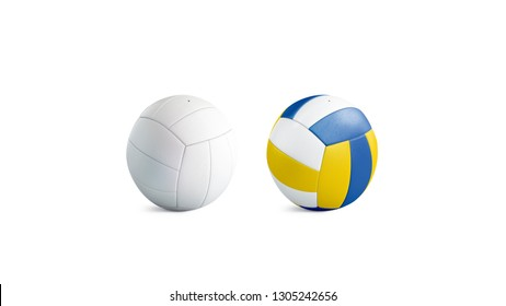 Blank white and colored volleyball ball mockup set, isolated, 3d rendering. Empty voleybal circle mock up. Clear beach playing team. Innings or block in professional volleybal template.