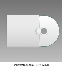 Blank white compact disk with cover mock up template  illustration