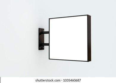 Blank white company store sign mock up on a wall. 3D Rendering