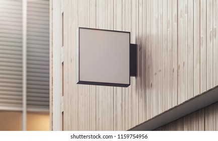 Blank white company store sign board mock up on a wooden wall. 3D Rendering