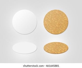 Blank white and cork textured beer coasters mockup,  3d illustration. Round clear mug mat design mock up top view. Circle cup rug display, 2 side set, isolated. Bottle plain coaster