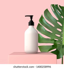 Blank white cosmetic bottle with a tropical leaf. 3D Render