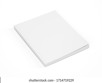Blank White Cover Of Magazine isolated on white background. Mock Up Template of magazine, book, brochure, booklet. 3d rendering