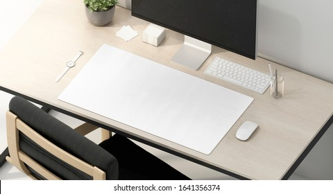 Blank white desk mat on work table mockup, side view, 3d rendering. Empty fabric pad for mouse and keypad control mock up. Clear cloth long sheet on workplace mokcup template.