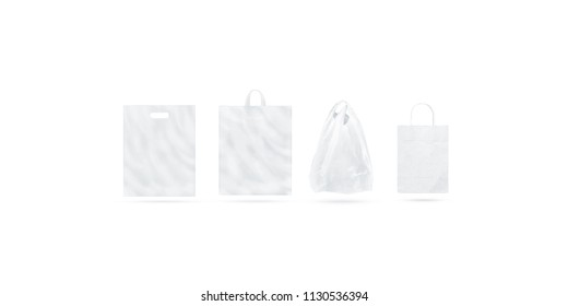 Blank white different types of bag mock up set, isolated, 3d rendering. Empty t shirt paper plastic polyethylene package mockup.