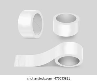 Blank white duct adhesive tape set mockup, 3d illustration. Sticky tape roll design mock up.