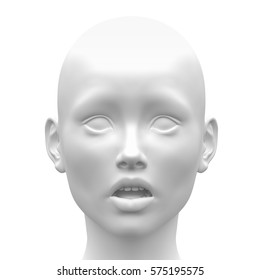 Blank White Female Fear Face Emotion - Front view