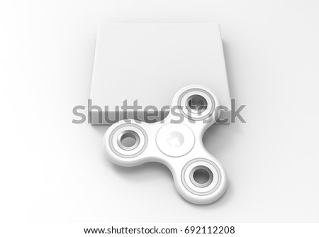 blank white fidget spinner with packaging box ready for your print design mock up template