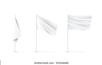 Blank white flags mockup set, plain and waving, 3d rendnering. Clear rippled flagpole design mock up. Pole with banner on wind. Business branding cloth pennon. Clean pillar for logo presentation.