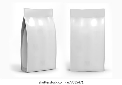 Blank white Foil Or Paper Food Stand Up Pouch Snack Sachet Bag Packaging. 3d render Illustration Isolated On White Background. Mock Up, Mockup