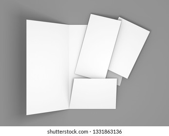 Blank white folder brochure template mockup. 3d render illustration