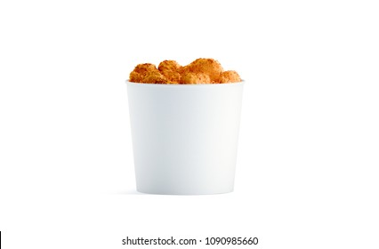 Blank white food bucket with chicken wings mockup isolated, 3d rendering. Empty pail fastfood front side view. Paper hen bucketful design mock up.
