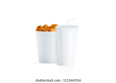 Blank white food bucket with cup with straw mockup, 3d rendering. Empty pail fastfood and paper soda drinking mug with lid and tube mockup. Paper hen bucketful and soft drink cola take away package