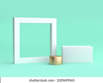 blank white frame and square minimal green background 3d rendering