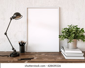 Blank white frame with vintage lamp, books and plant by the white wall. 3d rendering