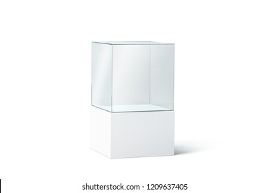 Blank white glass box podium mockup, isolated, 3d rendering. Empty transparent showcase mock up, side view. Clear exhibition cube for museum or store. Cube acrylic template. Display cabinet for expo.