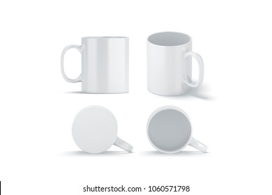Blank white glass mug mockups set isolated, 3d rendering. Clear left right coffee cup mock up for sublimation printing. Empty bottoms pint set branding template. Glassy restaurant tankard design.