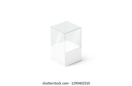 Blank white glass podium cube mockup, isolated, side view, 3d rendering. Empty acryl vitrine mock up. Clear display box for boutique sale or exhibit template.