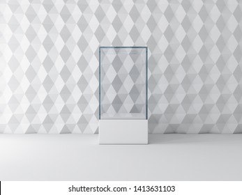 Blank white glass showcase box mockup, isolated on gray, 3d rendering