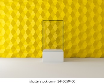 Blank white glass showcase box mockup on yellow wall, 3d rendering