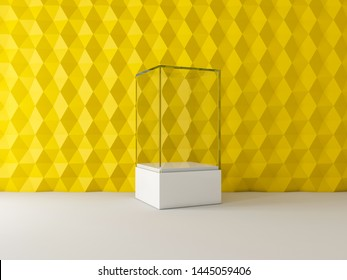 Blank white glass showcase box mockup in empty yellow room, 3d rendering