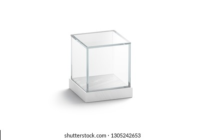 Blank white glass showcase cube mock up, isolated, 3d rendering. Empty acrylic podium box mockup. Clear plexiglass vitrine for expo or voting. Interior transparent dome template.