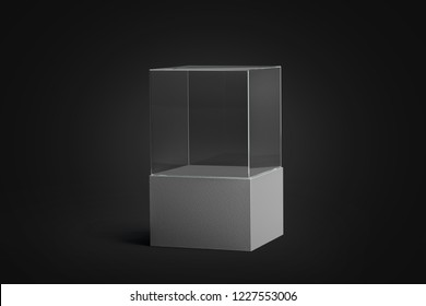 Blank white glass showcase mockup, isolated in darkness, side view, 3d rendering. Empty transparent cube on black background mock up. Glass acryl podium for presentation. Crystal display for expo.