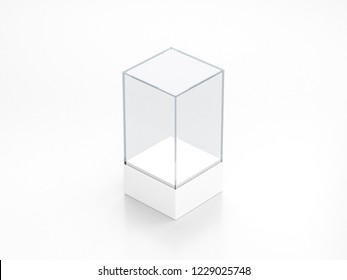 Blank white glass showcase mockup, clear transparent exhibition box template, 3d rendering
