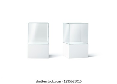 Blank white glass showcase mockup set, front and side view, 3d rendering. Empty museum or shop vitrine mock up, isolated. Expo transparent shelf template. Plexiglas stand for presentation.