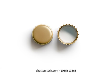 Blank white golden beer lid mockup, top view, front and back side, 3d rendering. Empty metal soda cap mock up design template. Clear bottle cover isolated.
