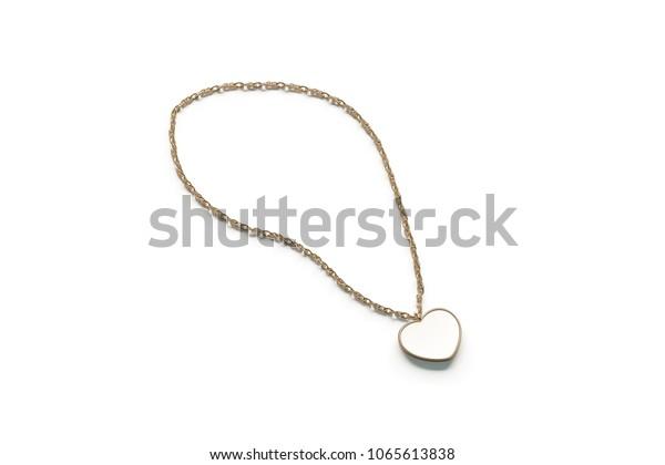 Blank White Golden Pendant Heart Mockup Stock Illustration 1065613838