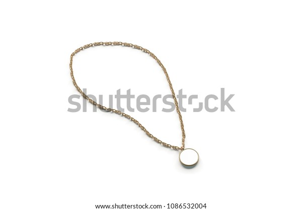Blank White Golden Pendant Round Mockup Stock Illustration
