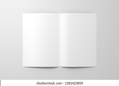 Blank white half-folded flyer leaflet on white background. With clipping path around brochure. 3d illustration