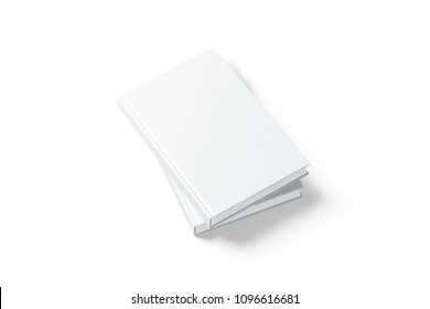 Blank white hardcover two books mock up, top view from the side, 3d rendering. Empty vertical hard cover notebooks on each other mock up, isolated. Hardback bookstore branding template